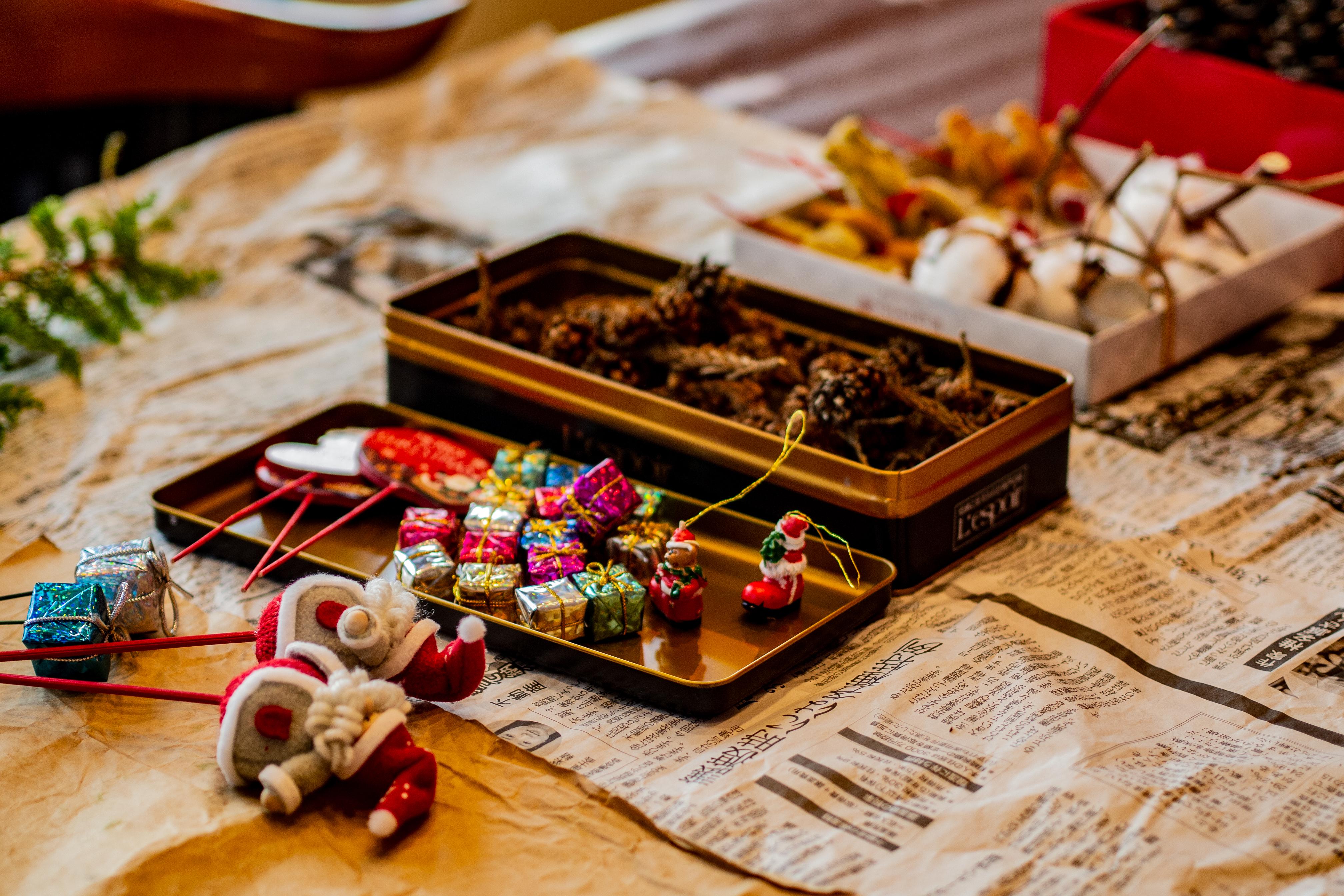 とっても可愛いクリスマスリースの材料の写真。
