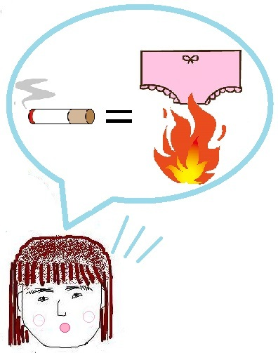 タバコとパンツを燃やしている図