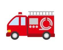 誤飲 、喉詰め現場にやってきた消防車のイラスト