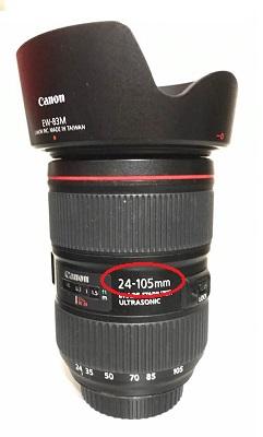 カメラレンズの焦点距離を表す部分の画像。
