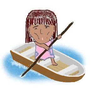 年の瀬 にツケに追われ、困難で危険な川の瀬を舟で行くSunの画