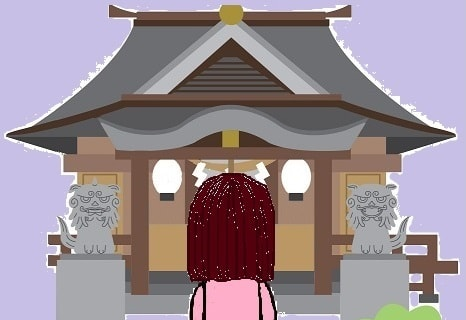 神社でお参りするSun