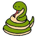 とぐろを巻いたヘビの画